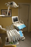 Dentist's tools. Modern studio with dentist tools on chair Stock Image