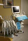Dentist's tools. Modern studio with dentist tools and computer on chair Royalty Free Stock Photography