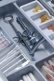 Dentist's tools drawer. Content of a Dentist's tools drawer Royalty Free Stock Images