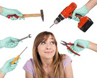 Dentist scary crazy tools. Frightened girl from crazy tools of dentist Stock Images