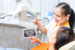 Dentist showing x-ray to a patient Stock Photography