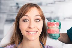 Dentist shows how to apply a brace Royalty Free Stock Photography