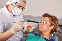 Dentist shows jaw Stock Photos