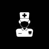 Dentist solid icon. Dental and medicine, doctor sign vector graphics, a filled pattern on a black background, eps 10 Vector Illustration