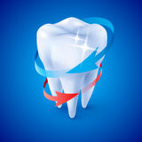 Dentist Symbol. Isometric Illustration Herbal and Fluoride Protection Icon of a Tooth on Blue Stock Photography