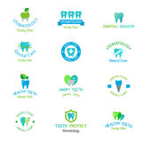Dentist symbols  set. Dentist logo implants  medical symbol collection. Clean dentist logo bright designs medical icon health care. Healthy hygiene dentist logo Royalty Free Stock Photos