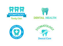 Dentist symbols  set. Dentist logo implants  medical symbol collection. Clean dentist logo bright designs medical icon health care. Healthy hygiene dentist logo Royalty Free Stock Photo