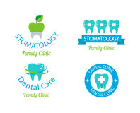 Dentist symbols  set. Dentist logo implants  medical symbol collection. Clean dentist logo bright designs medical icon health care. Healthy hygiene dentist logo Stock Images