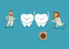 Dentist take dental floss Royalty Free Stock Photography