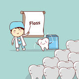 Dentist teach teeth use floss. Cartoon doctor or dentist teach teeth to use floss, great for dental care concept Royalty Free Stock Photos