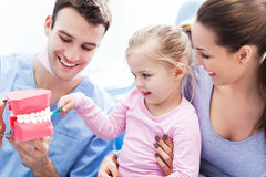 Dentist teaching girl how to brush teeth royalty free stock photography