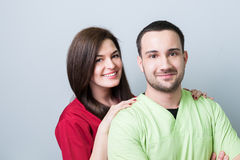 Dentist team or couple on gray copy space. And advertising area royalty free stock photos