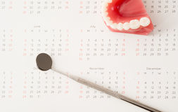 Dentist tool and demonstration teeth model on calendar Royalty Free Stock Photos