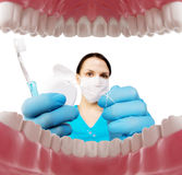 Dentist with tools. Concept of dentistry, whitening, oral hygiene, teeth cleaning with toothbrush, floss. Dentistry, taking care. Of a beautiful and healthy royalty free stock images