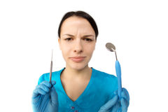 Dentist with tools. Concept of dentistry, whitening, oral hygien Royalty Free Stock Photography