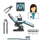Dentist with tools and equipments colored sketch Royalty Free Stock Images