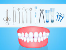 Dentist tools. Illustration of mouth and dentist tools Royalty Free Stock Photos