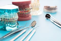 Dentist tools and orthodontic model. Stock Image