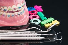Dentist tools and orthodontic model. royalty free stock images