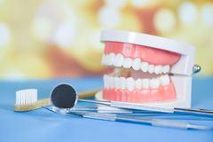 Free Dentist Tools With Bamboo Toothbrush Dentures Dentistry Instruments And Dental Hygienist Checkup Concept With Teeth Model And Stock Photos - 160532643
