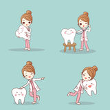 Dentist with tooth. Cute cartoon dentist with tooth and smile happily Stock Photos