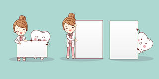 Dentist with tooth hold billboard. Cartoon woman dentist with tooth hold billboard vector illustration