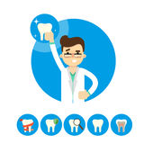 Dentist with tooth, vector illustration Royalty Free Stock Photos