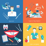 Dentist treatment checkup oral hygiene equipment flat vector Royalty Free Stock Photo