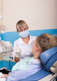 Dentist treats teeth patient Stock Images