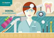 Dentist in uniform with instrument on workplace. Profession concept with female general dental practitioner in uniform in the dentist office Stock Photography