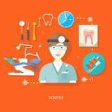Dentist in uniform with instrument on workplace Royalty Free Stock Photography