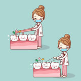 Dentist use floss clean teeth. Cartoon doctor or dentist use floss clean teeth, great for dental care concept Stock Photo