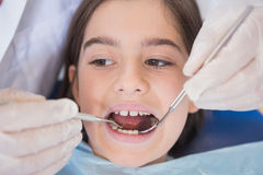 Dentist using dental explorer and angled mirror Stock Images