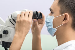 Dentist using a dental microscope stock photo