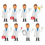 Dentist in various poses Royalty Free Stock Images