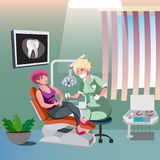 Dentist and woman in dentist chair. Vector illustration Stock Photo