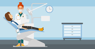 Dentist and woman in dentist chair. Royalty Free Stock Image