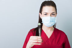 Dentist woman holding dental tools on copy space Stock Photography