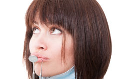 Dentist woman thinking Royalty Free Stock Photography