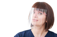 Dentist woman wearing big protection medical screen Royalty Free Stock Photo