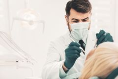 Dentist working with clients teeth. Teeth whitening. Serious qualified dentist in medical mask focusing on working with teeth of his patient while using dental stock image
