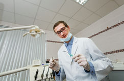 Dentist while working royalty free stock photo