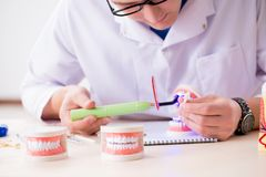 The dentist working teeth implant in medical lab. Dentist working teeth implant in medical lab Stock Photos