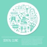 Dentista, bandera médica azul de la ortodoncia con los iconos del glyph del vector Equipo del cuidado dental, apoyos, prótesis de Imagenes de archivo