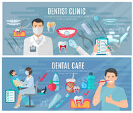 Dentista Banners Set Fotografie Stock