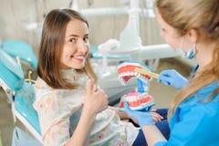 Dentista che mostra il modello dentario della mandibola al paziente nel dentist& x27; clinica di s fotografia stock