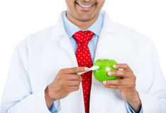 Dentista che mostra mela e spazzolino da denti Fotografia Stock Libera da Diritti