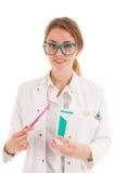 Dentista con goma del cepillo y de diente imagen de archivo