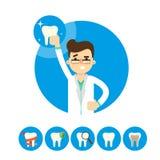 Dentista con il dente, illustrazione di vettore Fotografie Stock Libere da Diritti