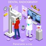 Dentista de centro dental y paciente de los dientes x de la clínica del rayo de la proyección de imagen oral panorámica dental de stock de ilustración